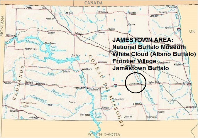 North Dakota Map, Jamestown Area