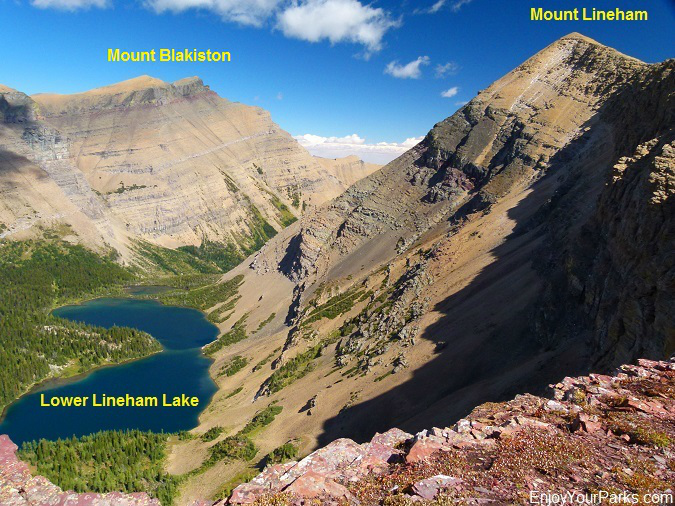 View of Lineham Lakes from Lineham Ridge, Tamarack Trail, Waterton Lakes National Park