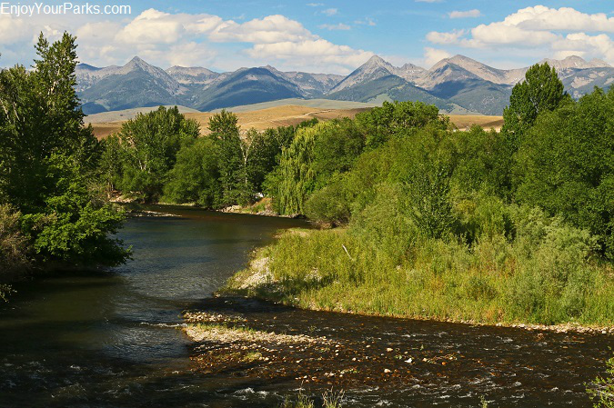 Salmon River with the Bitterroot Mountain Range along the Salmon River Scenic Byway in Idaho.