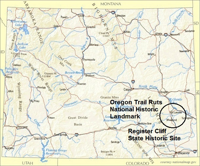 Wyoming Map, Oregon Trail Ruts National Historic Landmark