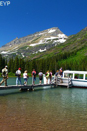 Lake Josephine upper boat dock, Many Glacier Area, Glacier National Park
