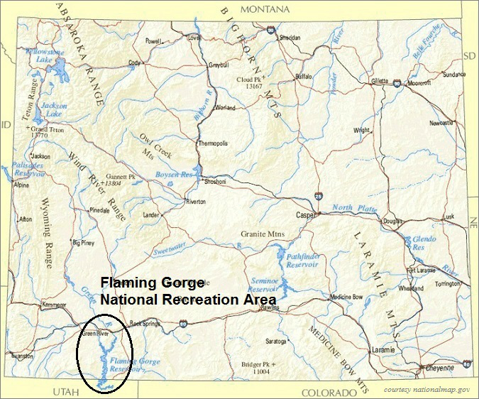 Wyoming Map, Flaming Gorge National Recreation Area