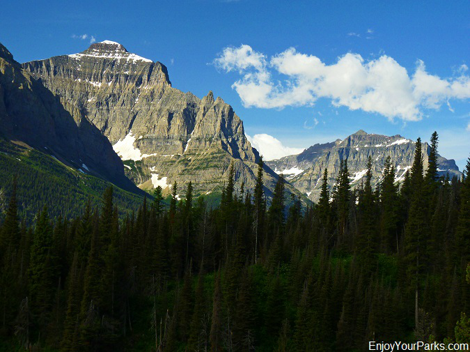 Little Chief Mountain and Dusty Star Mountain as viewed from the Otokomi Lake Trail, Glacier National Park