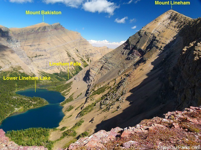 Lower Lineham Lake as viewed from north buttress of Mount Lineham, Waterton Lakes National Park