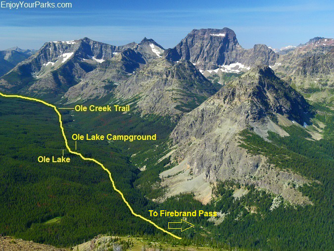 Ole Creek Trail as viewed from Firebrand Pass, Glacier National Park