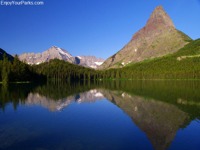 Grinnell Point and Mount Gould as viewed from Swiftcurrent Lake Trail, Many Glacier Area, Glacier National Park