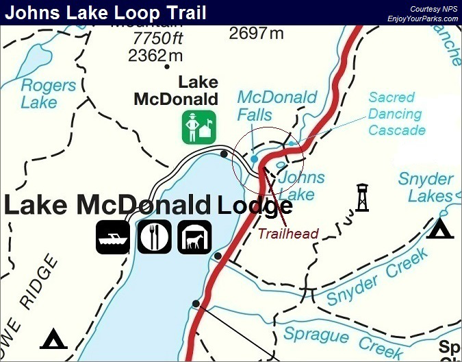 Johns Lake Loop Trail Map, Glacier National Park Map