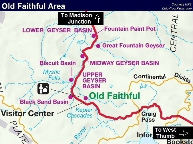 Old Faithful Map, Yellowstone National Park Map