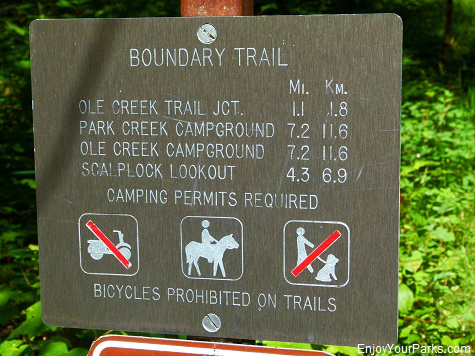 Boundary Trail sign, Scalplock Lookout Trail, Glacier National Park
