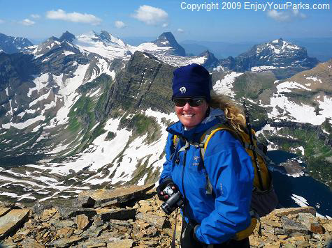 Shannon on the summit of Reynolds Mountain, Glacier National Park