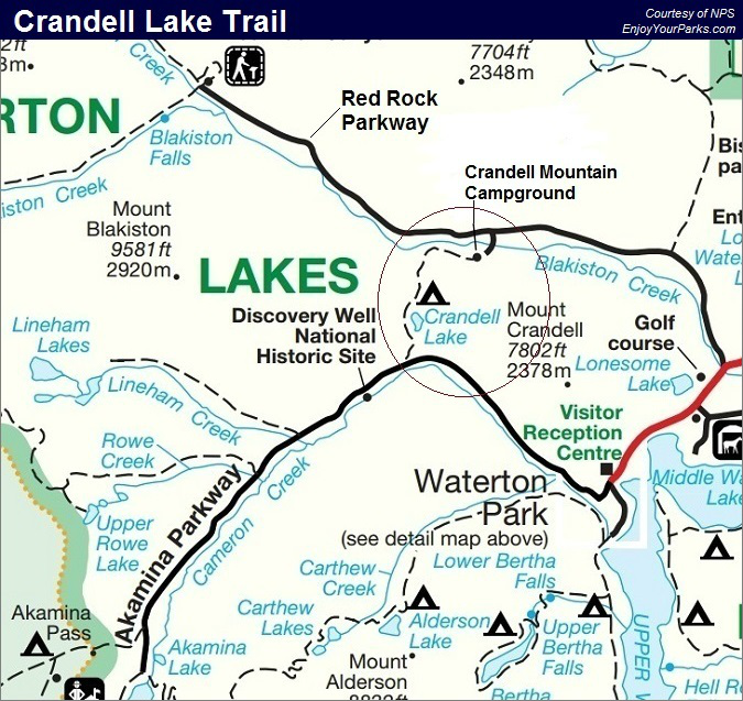 Crandell Lake Trail Map, Waterton Lakes National Park Map