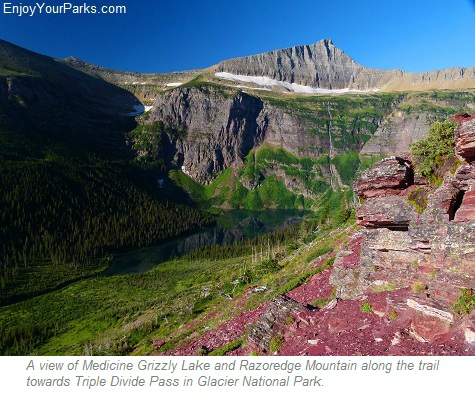 Medicine Grizzly Lake with Razoredge Mountain, Triple Divide Pass Trail, Glacier National Park