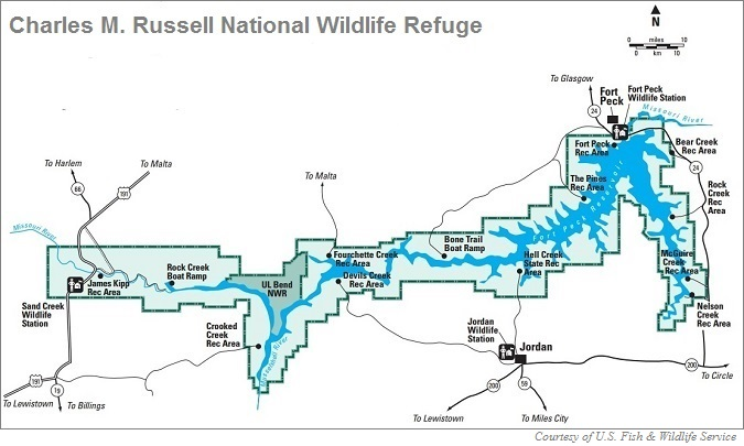 Charles M. Russell National Wildlife Refuge Map