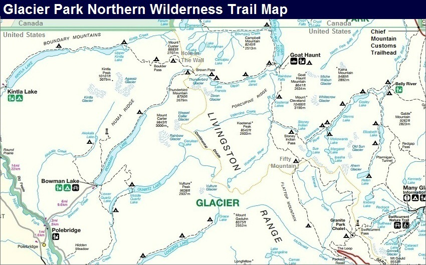 Glacier Park Northern Wilderness Trail Map, Glacier Park Map