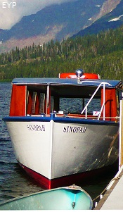 Wooden boat Sinopah, Two Medicine Area, Glacier National Park