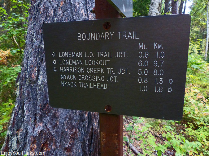 Boundary Trail sign, Loneman Lookout Trail, Glacier National Park