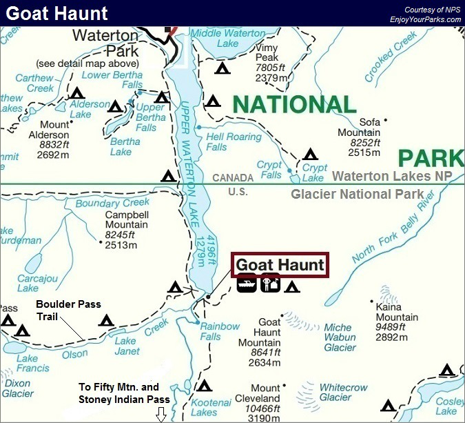 Goat Haunt Trail Map, Glacier National Park Map
