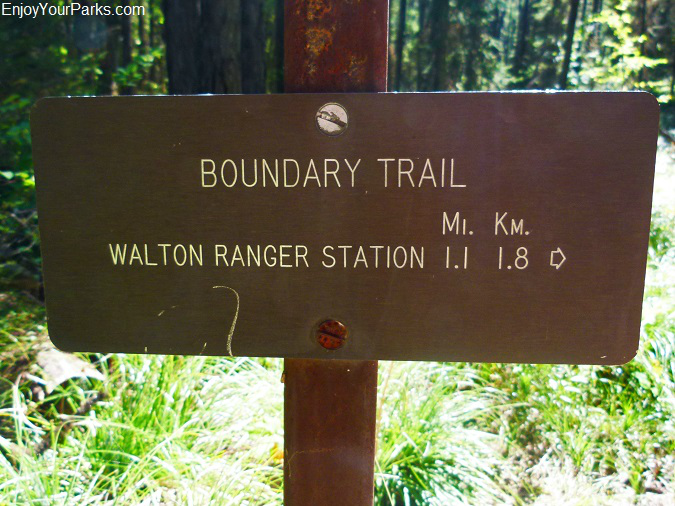 Ole Creek Trail, Boundary Trail sign, Glacier National Park