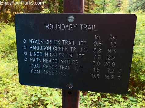 Boundary Trail sign, Nyack Coal Creek Loop, Glacier National Park