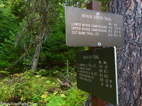 Nyack Creek Trail Sign, Glacier National Park