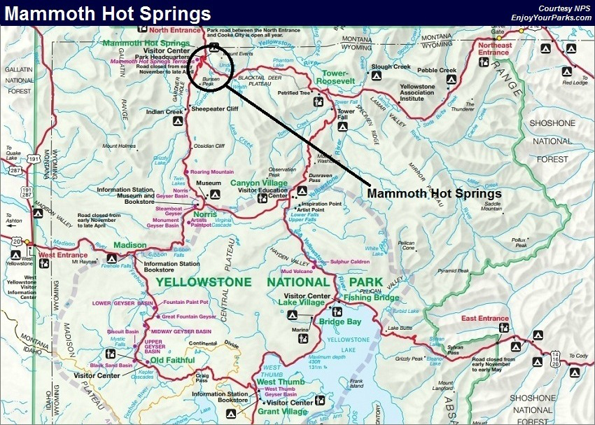 Mammoth Hit Springs Trail Map, Yellowstone National Park Map
