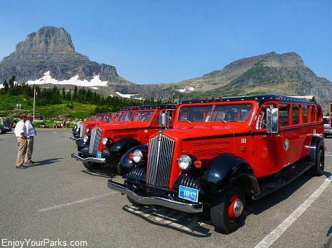 Red Buses, Logan Pass, Going To The Sun Road, Glacier National Park.