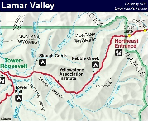Lamar Valley Map, Yellowstone National Park Map