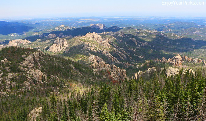 View of the Black Hills from the summit of Harney Peak in South Dakota