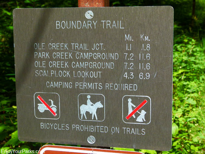 Ole Creek trailhead sign, Glacier National Park