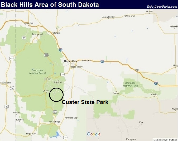 Black Hills South Dakota Map- Custer State Park