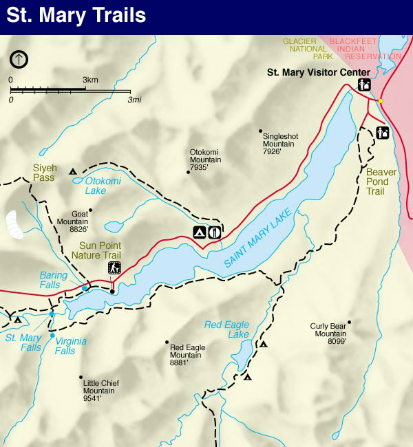 Glacier Park Map, St. Mary Trail Map