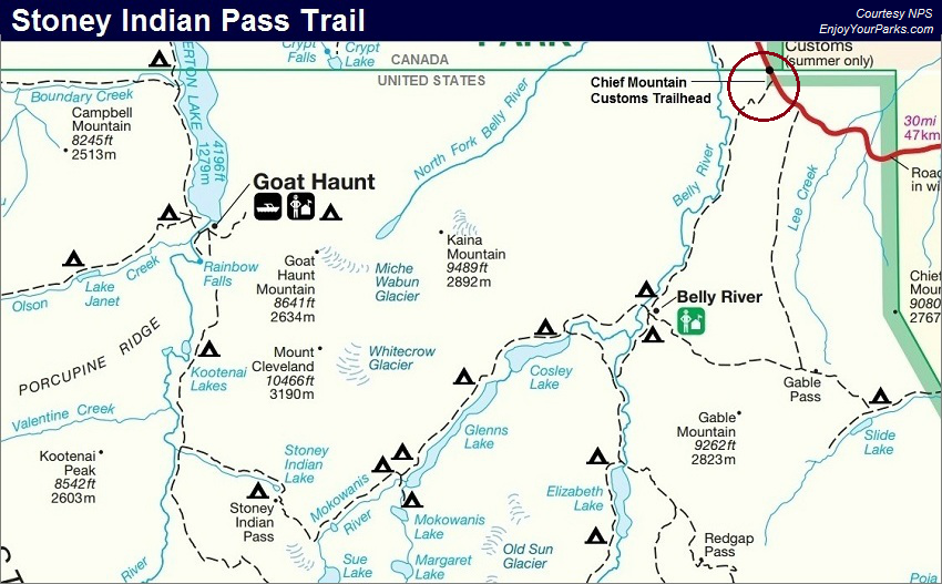 Stoney Indian Pass Trail Map, Glacier National Park Map