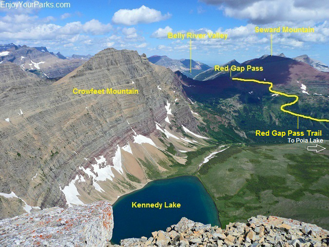 Red Gap Pass as viewed from Mount Henkel, Glacier National Park