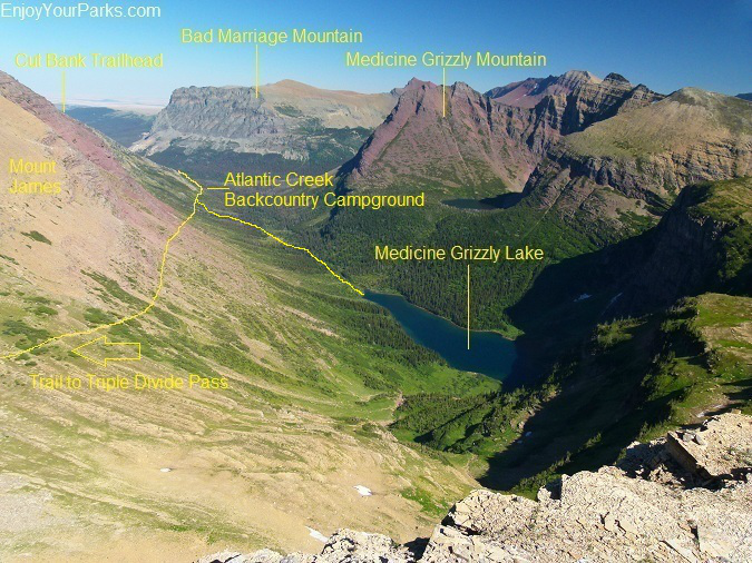 Medicine Grizzly Lake as seen from the summit of Triple Divide Peak, Glacier National Park