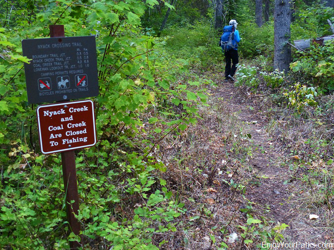 Nyack Crossing Trail Sign, Nyack Coal Creek Loop, Glacier National Park