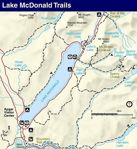 Lake McDonald Trail Map, Glacier National Park