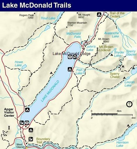 Trail of the Cedars, Glacier National Park Map
