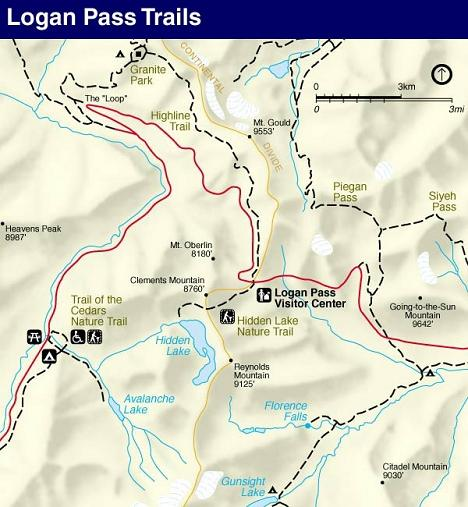 Hidden Lake Overlook Trail Map, Glacier National Park