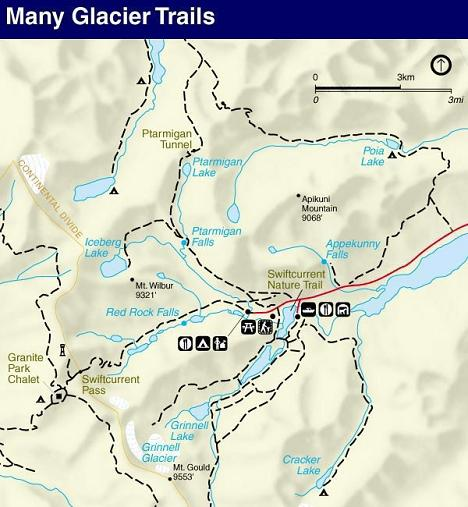 Iceberg Lake Trail Map, Glacier National Park