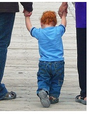 Our great-nephew Tucker, taking his first steps at Norris Geyser Basin in Yellowstone Park.
