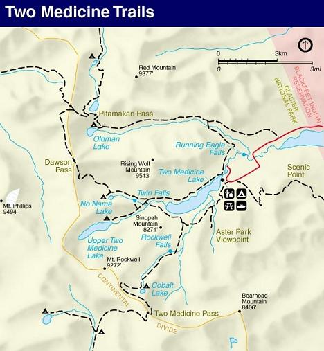 Upper Two Medicine Lake Trail Map, Glacier National Park